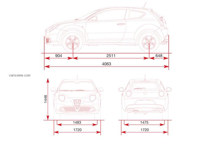Alfa Romeo Mito >> Alfa Romeo MiTo Restylage 2013 : Fiche Technique dimensions