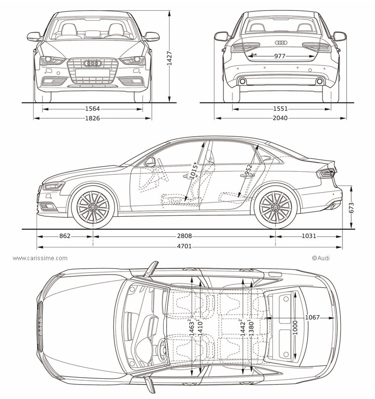 Audi A4 3 Restylage 2012 Fiche Technique Dimensions