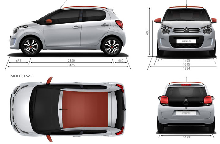 citroen c1 2 2014 fiche technique dimensions. Black Bedroom Furniture Sets. Home Design Ideas