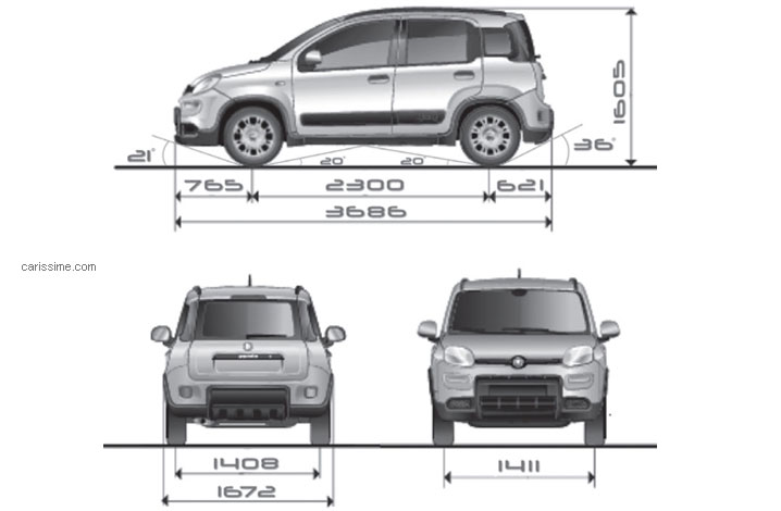 fiat panda 3 4x4 2012 fiche technique dimensions. Black Bedroom Furniture Sets. Home Design Ideas