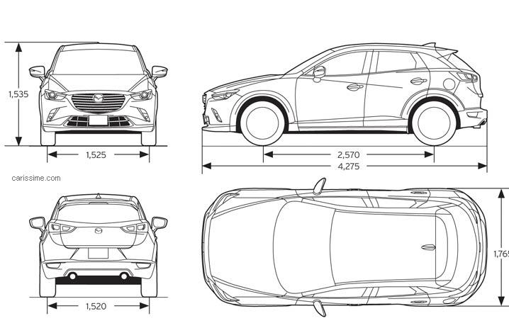 Mazda Cx3 Dimensions >> Mazda CX-3 2015 : Fiche Technique dimensions