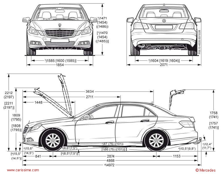 mercedes classe e w212 fiche technique dimensions