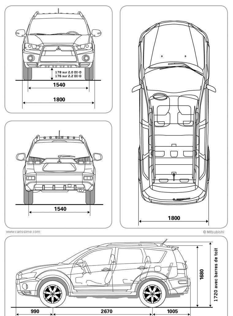 mitsubishi outlander ii restylage 2009 voiture mitsubishi fiche technique. Black Bedroom Furniture Sets. Home Design Ideas