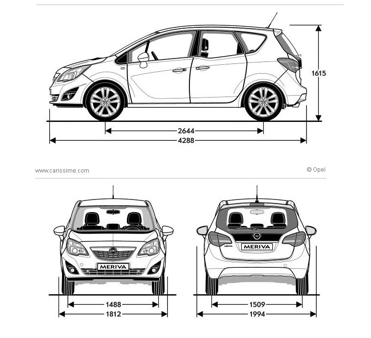 opel meriva 2 fiche technique dimensions. Black Bedroom Furniture Sets. Home Design Ideas