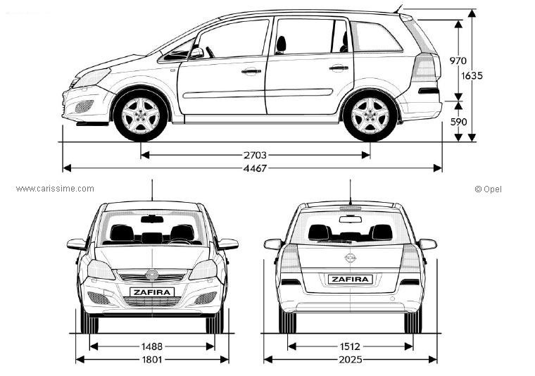 Opel Zafira 2 Restylage 2008 Fiche Technique Dimensions