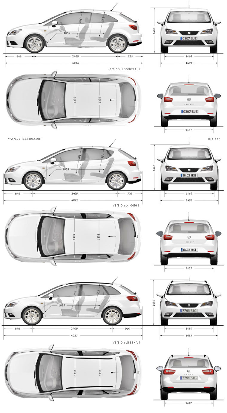 seat ibiza 2 restylage 2012 fiche technique dimensions. Black Bedroom Furniture Sets. Home Design Ideas
