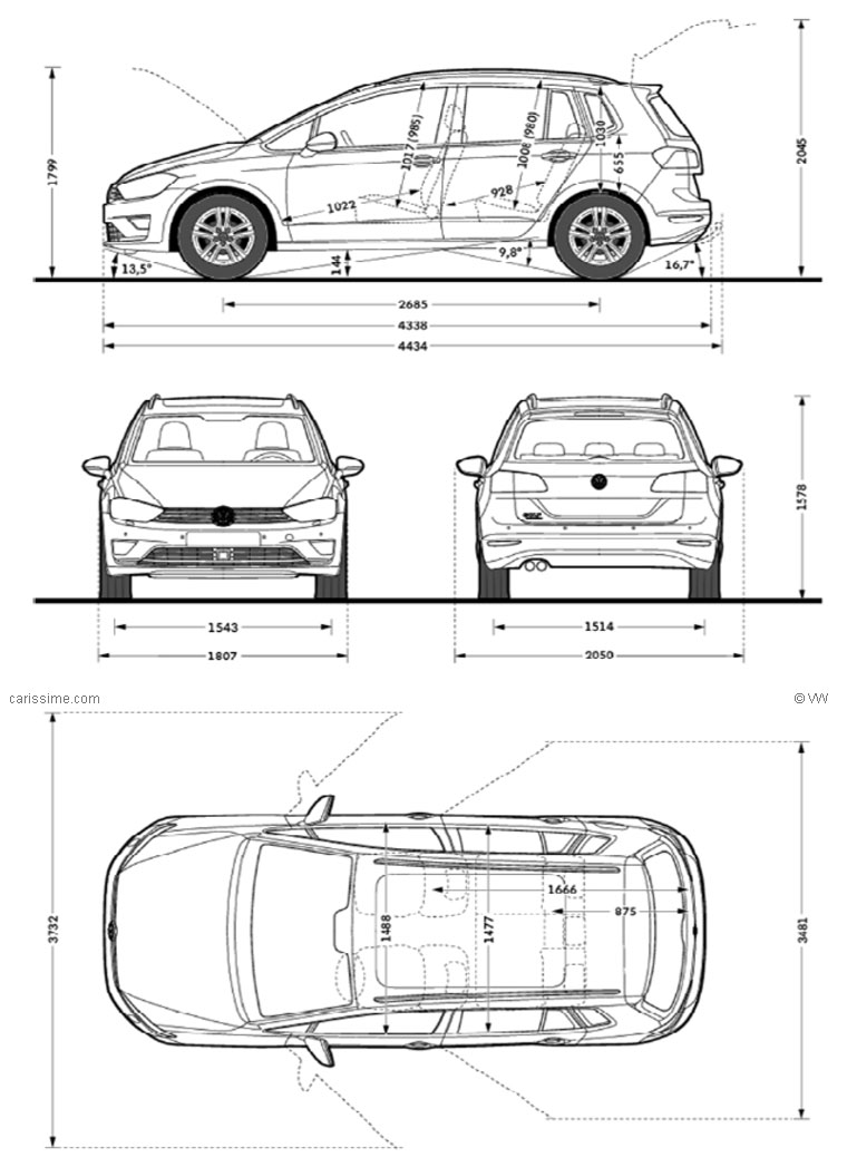 Volkswagen Golf 7 Sportsvan Fiche Technique Dimensions