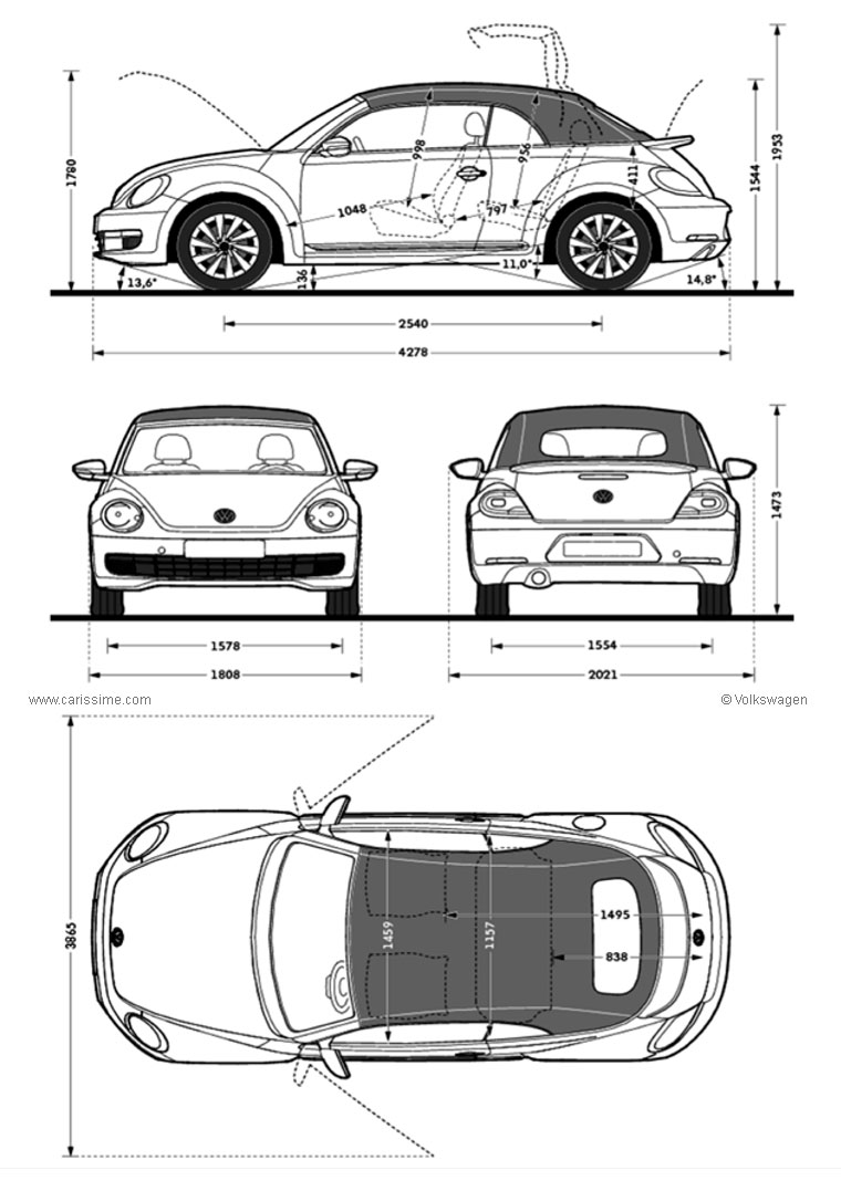 volkswagen coccinelle new beetle 2 cabriolet fiche technique dimensions. Black Bedroom Furniture Sets. Home Design Ideas