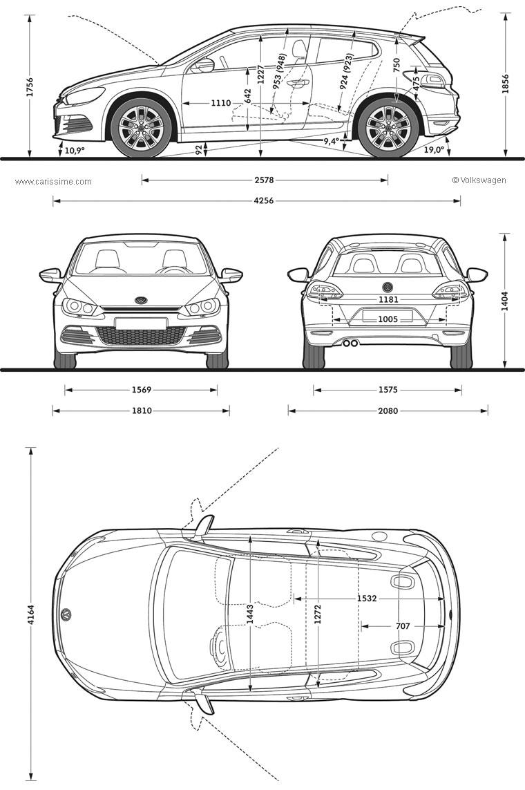 volkswagen scirocco 2 coup 2008 2014 fiche technique dimensions. Black Bedroom Furniture Sets. Home Design Ideas